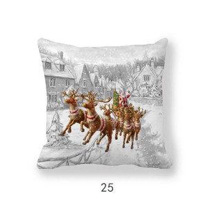 Happy New Year 2020 Merry Christmas Decorations For Home Santa Claus Snowman Elk Style Cushion Cover 45x45cm For Sofa Car Seat Pillow Case