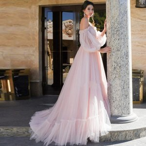 2021 Sweetheart Long Sleeves Prom Dresses with Beaded Applique Newest Robe De Marrige A Line Tulle Bride Party Evening Gowns