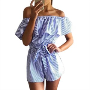 Ruffles Slash Off Shoulder Beach Playsuits Summer Women Striped Jumpsuits Girls Sexy Casual Rompers with Belts Femininos GV571