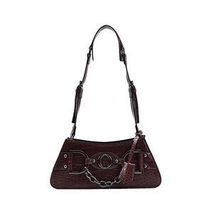 Designer- Women Baguette Bags Designer Retro Fashion Chain Crocodile Pattern Leather Casual Shoulder Underarm Handbag