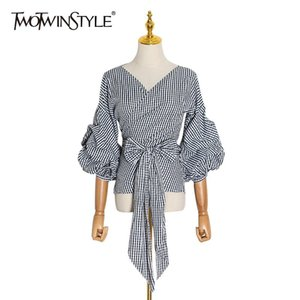 TWOTWINSTYLE White Striped Lace Up Bowknot Shirt For Women V Neck Puff Sleeve Elegant Short Tops Female Fashion New Clothing