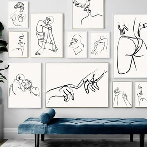 Line Drawing Girl Body Hand Love Kiss Wall Art Canvas Painting Nordic Posters And Prints Wall Pictures For Living Room Decor