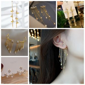 Long Butterfly Tassel Earrings 2020 NEW A Pair Of Earrings With Two Five Pointed Star Pearl Sweet And Simple Earrings For Fashionable Women