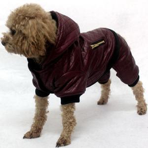 Diseño de cuero mascota ropa para perros invierno desmontable dos -piece conjunto perro abrigo chaqueta caliente cuatro piernas con capucha ropa ropa ropa ropa cwfz06
