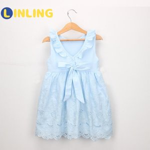 LINLING Girl Princess Dress 2020 Summer New Girl's Hollow Embroidery Dress Sky Blue Sweet Children Party Suits V144