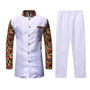 African Clothing Two Piece Suit White Printed Dashiki Set for Men Long Sleeve Shirt Tops and Pants Set Bazin Riche Africa Outfit