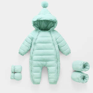 2020 Autumn Winter Newborn Rompers Hooded Warm Cotton Baby Boys Jumpsuit Toddler Girls Snowsuit Infant Baby Girl Overalls Y1219