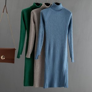 Winter Thick Warm Long Knit Maxi Sweater Dress Turtleneck Pullover Midi Dress Slim Bodycon Party Dresses Robe Pull