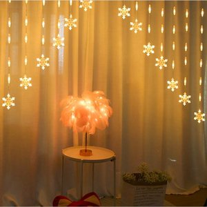 LED creative snowflakes light strings waterproof Christmas lights with copper string powered by battery and decorated indoors