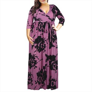 Big size 9XL 2020 Fat MM Woman print dress Elegant Seven sleeve long dresses plus size women clothing 9xl party dress vestidos