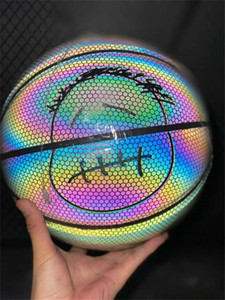 Holographic Luminous basketball Rainbow 3M reflect light black basketball PU leather Indoor outdoor basketball 7 Net + inflator + Needle