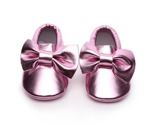 Same Style with Little Seven! PU Childrens Single-Layer Shoes Bowknot Baby Toddler Shoes Baby Shoes Soft Bottom Foreign Trade