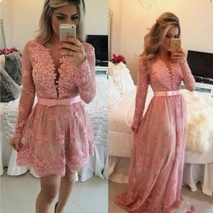 Stylish Pink Short Lace Prom Dresses With Detachable Skirt V Neck Long Sleeves Covered Button Homecoming Dress With Pearls