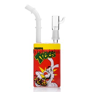 Mini Juice Box Smoking Hookahs Unique Bong Beaker Base Shisha Dab Oil Rig Comb Percolator Perc Recycler Bubbler Smoking Tool 14MM Male Nail