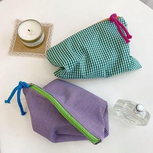 Women Plaid Makeup Bag Fashion Cotton Zipper Pouch Necessarie Feminina Purse Travel Big Bath Cosmetic Bags Organizer