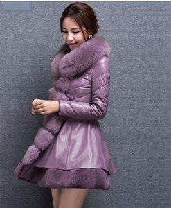 2021 New Coat Plutonium Leather Jacket with Fake Female High Imitation Fox Fur Collar Winter Coats of Women More Size Wxf122 Y9jo