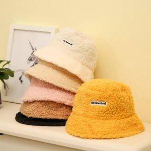 Lamb Faux Fur Bucket Hat Thickened Warm Teddy Velvet Winter Hats For Women Lady Panama Outdoor Plush Fisherman Hat