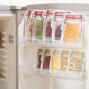 Многоразовые продукты питания для хранения молнии мешки Mason Jar в форме закуски воздухонепроницаемая уплотнительные уплотнения для еды спасательные мешки для кухни Организатор сумки VT2196