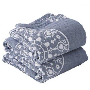 Lyngy 100% coton mousselin couverture lit canapé canapé de voyage respirant chic mandala gros plan doux couverture para1