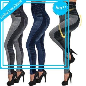High waist imitation Jean Leggings Slender Elastic Needless Plus Size 3XL Skinny Potlead Pant Female Pocket Workout Running Leggins