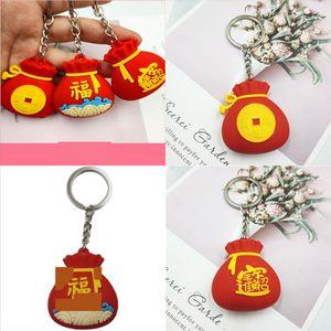 H Year's Bag Popular R Fashoinal New Key Blessing Design Red New Car Keyfob Car Keyring Keychain INS Chain Ring Men Metal Black Year Da Emof