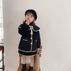 Winter 2020 new girls suits keep warm girls outfits princess kids suits coats jacket+skirts 2pcs set kids clothing retail B2958