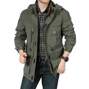 Bomber Jacket Men Autumn Winter Multi-pocket Waterproof Military Tactical Jackets Casual Windbreaker Mens Coat Outdoor Hooded Z1210