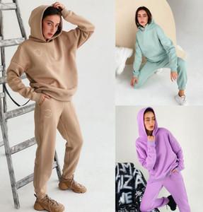 Donna Sport Tracksuit Felpe con cappuccio + Pantaloni 2 Pezzo Donna Set Outfit Hollow Out Solid Color Womens Sweats Suits Sweatsuits Vestiti Abbigliamento