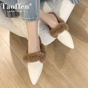TAOFFEN Real Leather Women Winter Slipper Sexy Pointed Toe Fashion Shoes Woman Warm Fur Casual Lady Home Footwear Size 34-39