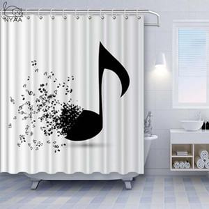 NYAA 3D musikalische Anmerkung Duschvorhänge Wasserdichter Polyestergewebe Badezimmer Vorhänge für Wohnkultur