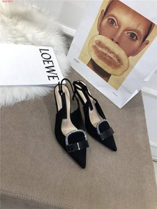 High heels for early spring dress business shoes Pointed high heel sandals Casual flat black loafers heel-height 7 cm With box Size 34-40