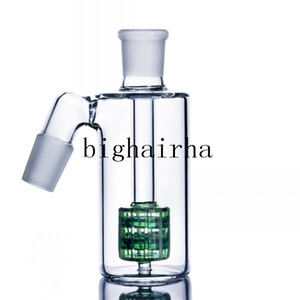 Green Glass Ash Catcher For Tobacoo Smoking Bongs Dab Rig Oil Accessories Tool Pipes Hookahs Shisha Dab Oil Rig Burner Pipes 14MM 18MM Male