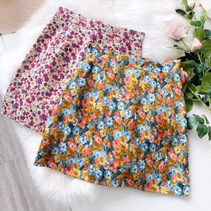 Korean Painting Mini Skirt Women High Waist Short Skirt 2020 Summer Retro A Line Bag Hip