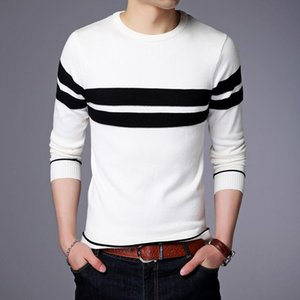 Spring autumn sweater Men long-sleeved round neck striped Knitted sweaters 17707