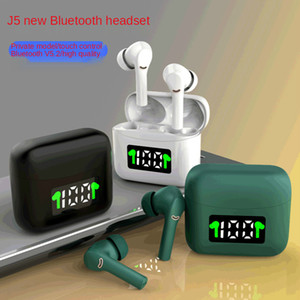 tws bluetooth earphone New private model ANC noise reduction screen display wireless TWS binaural sports in-ear J5 Bluetooth headset 5.2
