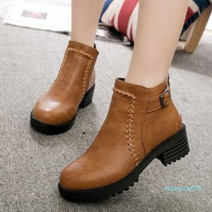 Hot Sale- Buckle Strap Student Boots Women Casual High-Heeled Thick Platform Single Boots Fashion PU leather Pointed Toe Shoes