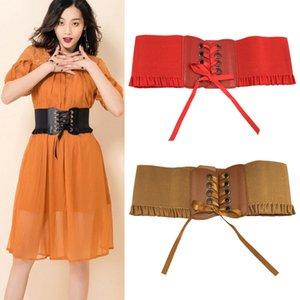 Fashion new ins luxury designer pu fabric lace ribbon wide elastic belt for woman female girls students 66cm