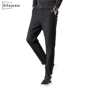 SITEWEIE Business Casual Stripe Straight Pants for Men Sports Thicken Sweatpants Japanese Streetwear New Cotton Trousers L512 Z1126