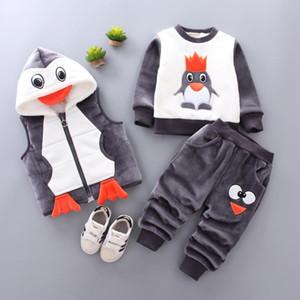 2020 New Baby Boys Girls Christmas Cartoon Winter Hooded Warm Vest Coat+sweatshirt+pants 3pcs Infant Children Sports Suit 0-4y