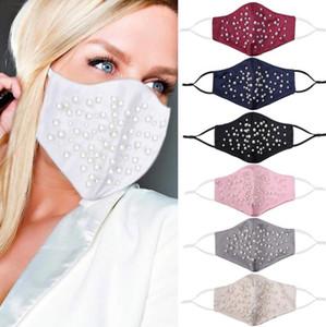 Yüz Maske Moda İnci Gece Kulübü Ağız Maskeleri Yaratıcılık Yetişkin İnce Ayarlanabilir Yeniden kullanılabilir maskeler Koruyucu Anti-puf Maskeleri HWC3674 Maske