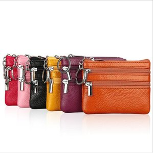 Real Leather Coin Purse Fashion Holder Handbag Earphone Bags Multi Function Storage Bag Zipper Purse Solid Color Coin Pouch DHB3566