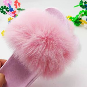 Hot Sale-New Pink Fashion Slides Women Summer Furry Slippers Fluffy Home Shoes Woman Ladies Flip Flops With Female Fur Sandals0F76
