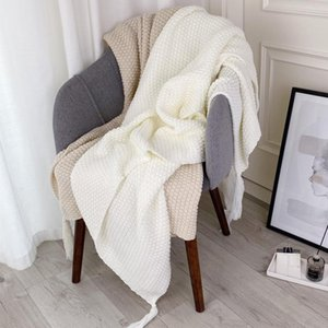 Thick Solid Color Knitted Ins Throw Blanket Simple Bed Sofa Cover Office Car Multi Use