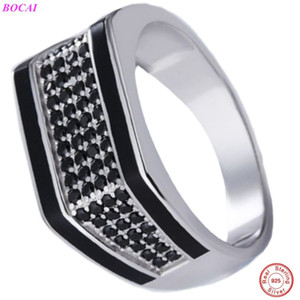 BOCAI S925 sterling silver ring fashion jewelry Men's popular personality trend Classic Thai silver men's index finger rings Z1121