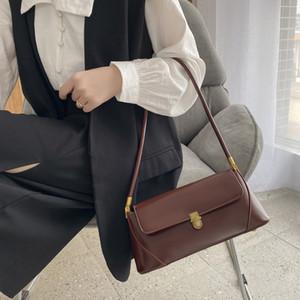 Womens Bag 2020bag New Online Influencer Hongkong Style Solid Color Shoulder Bag Ins Business Handheld All-Match Underarm Bag