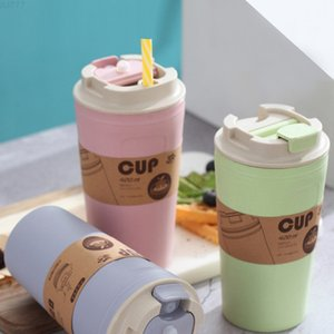 Green wheat straw bamboo fiber, 420 ml, cup office travel coffee, a bottle of large capacity water