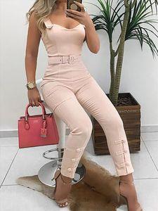 Summer Elegant Office Overalls Skinny Slim Fit V Neck Sleeveless Casual Romper Thin Strap Button Design Jumpsuits