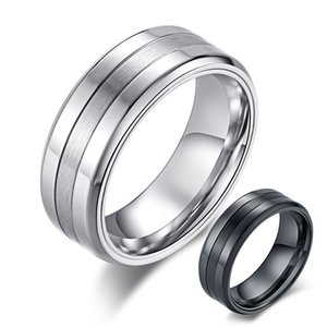 Simple High Polished Matte Finished Combination Ring for Men Black   Silver Color Stainless Steel Ring Male Jewelry