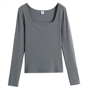 Long Sleeve Ribbed 95% Cotton Women T Shirt Solid Square Collar S XL Top Tee Chic Female T Shirt Autumn Winter