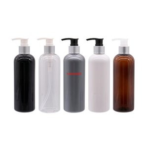 Round Shoulder Plastic Bottle With Silver Collar Lotion Pump 300ML White Black Gray Cosmetic Container Screw Dispenserpls order